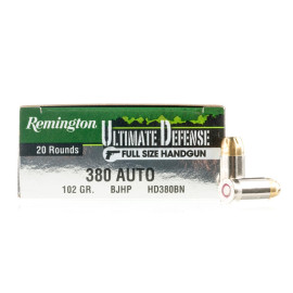 Image For 20 Rounds Of 102 Grain JHP Boxer Nickel-Plated Brass 380 ACP Remington Ammunition