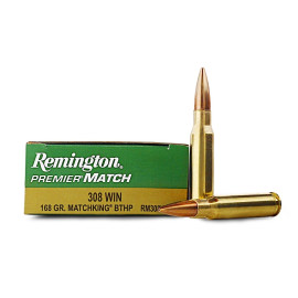 Image For 200 Rounds Of 168 Grain HPBT Boxer Brass 308 Win Remington Ammunition