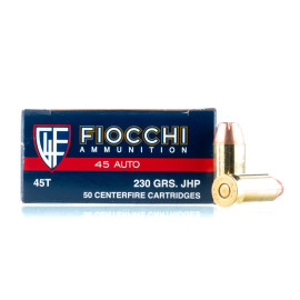 Image For 50 Rounds Of 230 Grain JHP Boxer Brass 45 Auto Fiocchi Ammunition