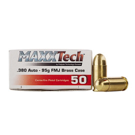 Image For 1000 Rounds Of 95 Grain FMJ Boxer Brass 380 ACP MaxxTech Ammunition