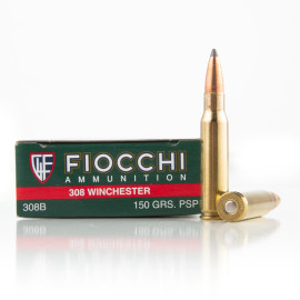 Image For 20 Rounds Of 150 Grain PSP Boxer Brass 308 Win Fiocchi Ammunition