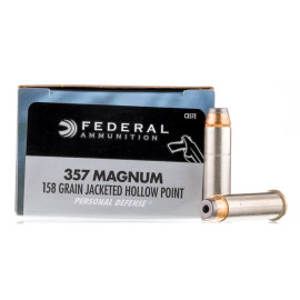 Image For 20 Rounds Of 158 Grain JHP Boxer Nickel-Plated Brass 357 Magnum Federal Ammunition