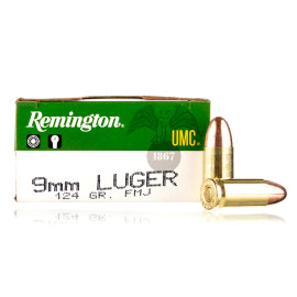 Image For 50 Rounds Of 124 Grain FMJ Boxer Brass 9mm Remington Ammunition