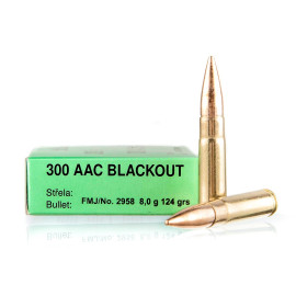 Image For 20 Rounds Of 124 Grain FMJ Boxer Brass 300 Blackout Sellier and Bellot Ammunition