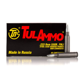 Image For 1000 Rounds Of 55 Grain FMJ Berdan Steel 223 Rem TulAmmo Ammunition