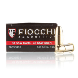 Image For 50 Rounds Of 145 Grain FMJ Boxer Brass 38 S&W Fiocchi Ammunition
