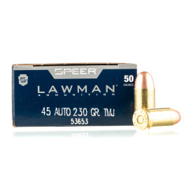 Image For 50 Rounds Of 230 Grain TMJ Boxer Brass 45 Auto Speer Ammunition