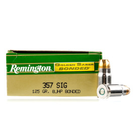 Image For 50 Rounds Of 125 Grain JHP Boxer Nickel-Plated Brass 357 Sig Remington Ammunition