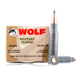 Image For 20 Rounds Of 140 Grain SP Berdan Steel 308 Win Wolf Ammunition