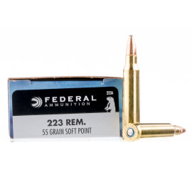 Image For 20 Rounds Of 55 Grain SP Boxer Brass 223 Rem Federal Ammunition