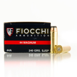 Image For 500 Rounds Of 240 Grain SJSP Boxer Brass 44 Magnum Fiocchi Ammunition