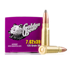 Image For 20 Rounds Of 125 Grain SP Berdan Brass Plated Steel 7.62x39 Golden Bear Ammunition