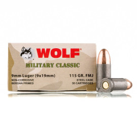 Image For 500 Rounds Of 115 Grain FMJ Berdan Steel 9mm Wolf Ammunition
