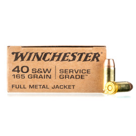 Image For 50 Rounds Of 165 Grain FMJ Boxer Brass 40 Cal Winchester Ammunition