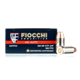Image For 25 Rounds Of 230 Grain JHP Boxer Nickel-Plated Brass 45 Auto Fiocchi Ammunition