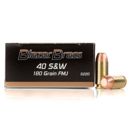 Image For 1000 Rounds Of 180 Grain FMJ Boxer Brass 40 Cal Blazer Brass Ammunition