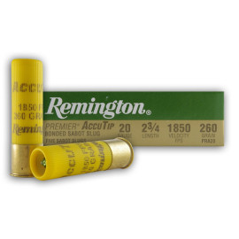 Image For 5 Rounds Of 260 Grain Sabot Slug 20 Gauge Remington Ammunition