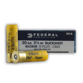 Image For 5 Rounds Of #3 Buck 20 Gauge Federal Ammunition