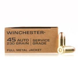 Image For 500 Rounds Of 230 Grain FMJ Boxer 45 Auto Winchester Ammunition