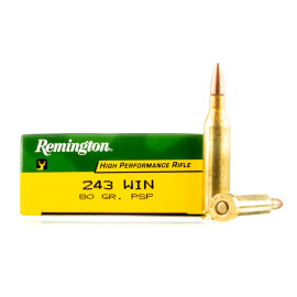 Image For 20 Rounds Of 80 Grain PSP Boxer Brass 243 Win Remington Ammunition