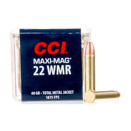 Image For 50 Rounds Of 40 Grain TMJ Rimfire Brass 22 WMR CCI Ammunition