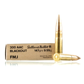 Image For 20 Rounds Of 147 Grain FMJ Boxer Brass 300 Blackout Sellier and Bellot Ammunition