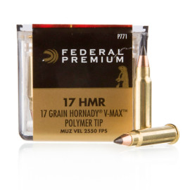 Image For 50 Rounds Of 17 Grain V-MAX Rimfire Brass 17 HMR Federal Ammunition