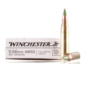 Image For 20 Rounds Of 62 Grain FMJ Boxer Brass 5.56x45 Winchester Ammunition