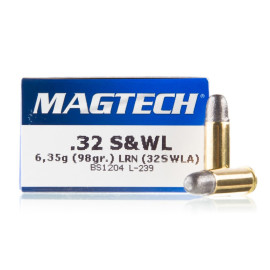 Image For 50 Rounds Of 98 Grain LRN Boxer Brass 32 S&W Long Magtech Ammunition