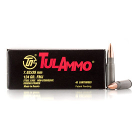 Image For 1000 Rounds Of 124 Grain FMJ Berdan Steel 7.62x39 TulAmmo Ammunition