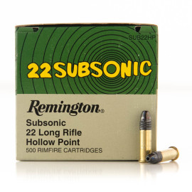 Image For 500 Rounds Of 38 Grain LHP Rimfire Brass 22 LR Remington Ammunition