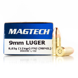 Image For 50 Rounds Of 124 Grain FMJ Boxer Brass 9mm Magtech Ammunition