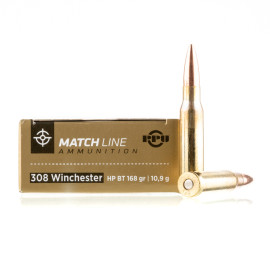 Image For 20 Rounds Of 168 Grain HPBT Boxer Brass 308 Win Prvi Partizan Ammunition