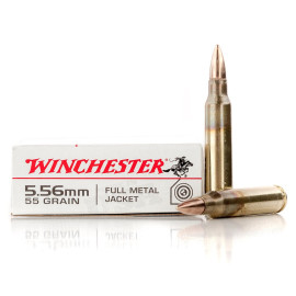 Image For 20 Rounds Of 55 Grain FMJ Boxer Brass 5.56x45 Winchester Ammunition