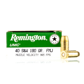 Image For 50 Rounds Of 180 Grain FMJ Boxer Brass 40 Cal Remington Ammunition