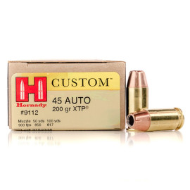 Image For 20 Rounds Of 200 Grain JHP Boxer Brass 45 Auto Hornady Ammunition
