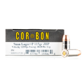 Image For 20 Rounds Of 115 Grain JHP Boxer Brass 9mm Corbon Ammunition