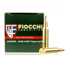 Image For 50 Rounds Of 40 Grain V-MAX Boxer Brass 223 Rem Fiocchi Ammunition