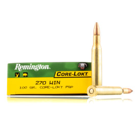 Image For 20 Rounds Of 100 Grain PSP Boxer Brass 270 Win Remington Ammunition