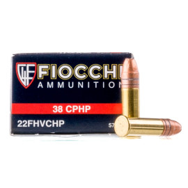 Image For 500 Rounds Of 38 Grain CPHP Rimfire Brass 22 LR Fiocchi Ammunition