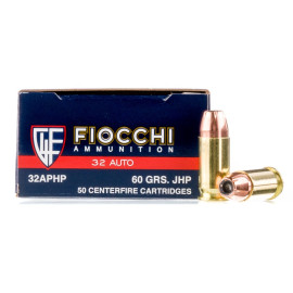 Image For 50 Rounds Of 60 Grain JHP Boxer Brass 32 ACP Fiocchi Ammunition