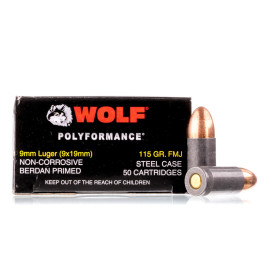 Image For 50 Rounds Of 115 Grain FMJ Berdan Steel 9mm Wolf Ammunition