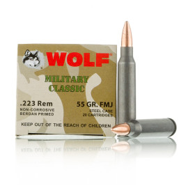 Image For 20 Rounds Of 55 Grain FMJ Berdan Steel 223 Rem Wolf Ammunition