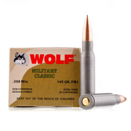 Image For 20 Rounds Of 145 Grain FMJ Berdan Steel 308 Win Wolf Ammunition