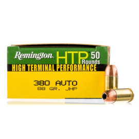 Image For 500 Rounds Of 88 Grain JHP Boxer Brass 380 ACP Remington Ammunition