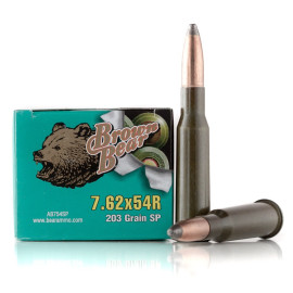 Image For 20 Rounds Of 203 Grain SP Berdan Steel 7.62x54r Brown Bear Ammunition