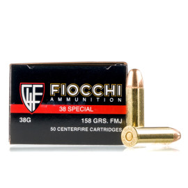 Image For 1000 Rounds Of 158 Grain FMJ Boxer Brass 38 Special Fiocchi Ammunition