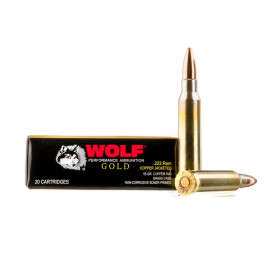 Image For 20 Rounds Of 55 Grain FMJ Boxer Brass 223 Rem Wolf Ammunition
