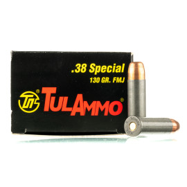 Image For 1000 Rounds Of 130 Grain FMJ Boxer Steel 38 Special TulAmmo Ammunition