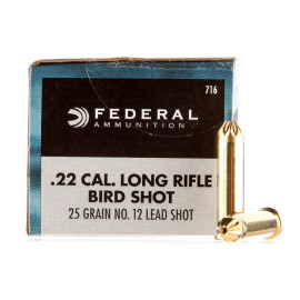 Image For 50 Rounds Of 25 Grain #12 Shot Rimfire Brass 22 LR Federal Ammunition